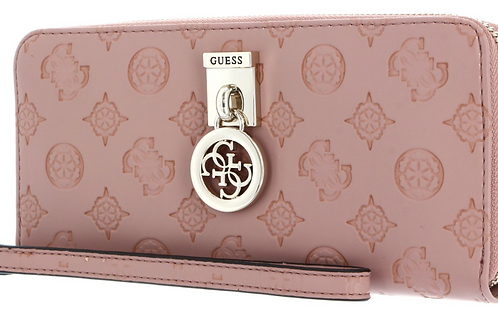 Guess Ninnette Large Zip Around Purse - Rose