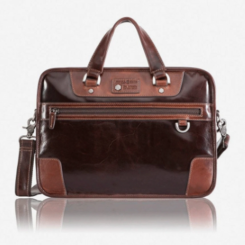 Jekyll & Hide Oxford Casual Laptop Briefcase 15 Inch - Brown