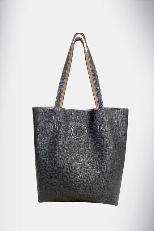 Jo Borkett Two Toned Pebbled Tote Handbag - Black & Beige