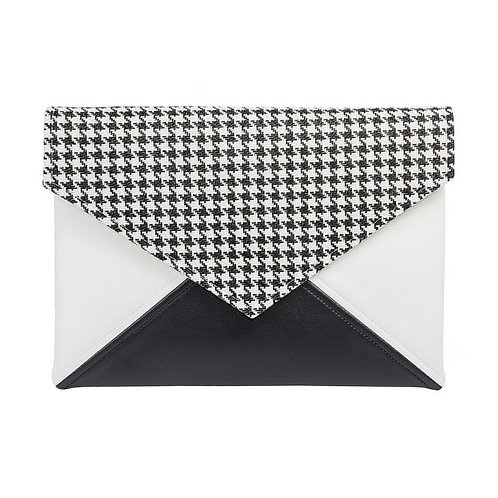Black and White Checkered Vegan Leather Bag