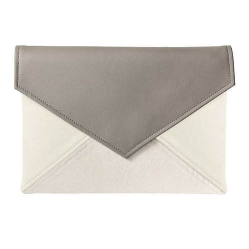 Ivory and Grey Vegan Leather Bag