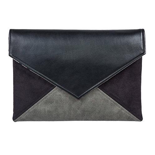Grey and Black Vegan Leather Bag