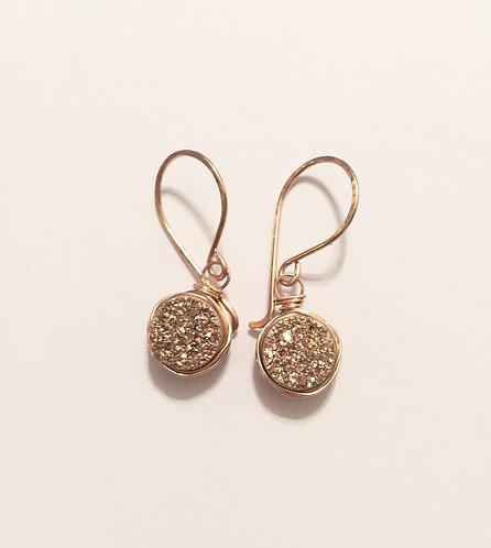 Druzy Rose Gold Drop Earrings