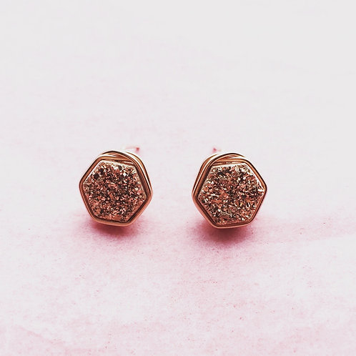 Hexagon Druzy Studs