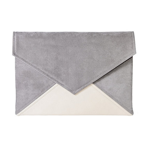 Grey and Light Pink Vegan Leather Bag