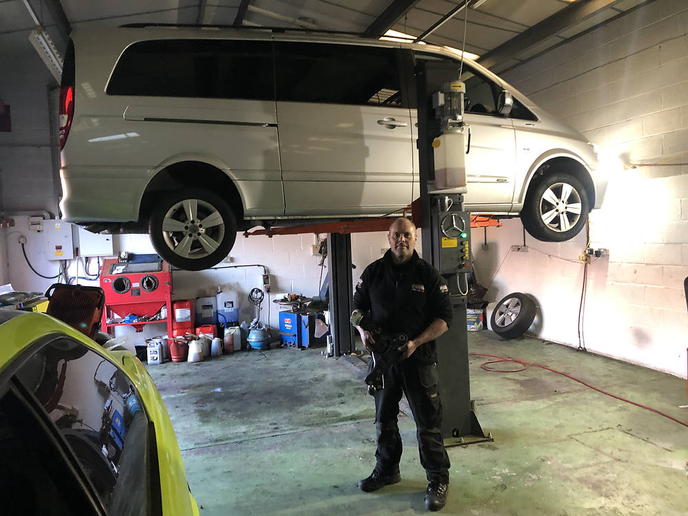 Our Mercedes Viano having bottom arm fitted