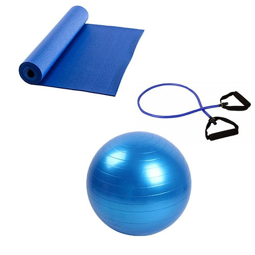 Kit Yoga Yogat Mat Balón 65cm, Banda Tubular, maleta