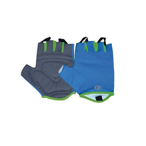 Guantes pesas crossfit gym azul con verde y gris