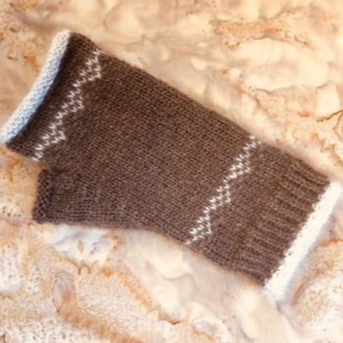 Qiviut Fingerless Gloves with Fox Trim