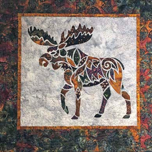 Alaska Mosaic Moose-Brown Quilt Kit