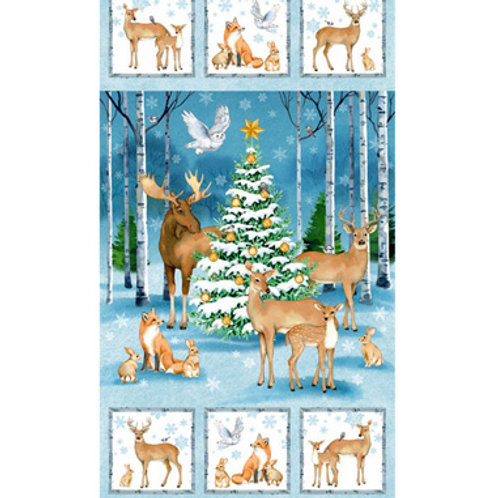 NC Christmas Woodland Animals Panel