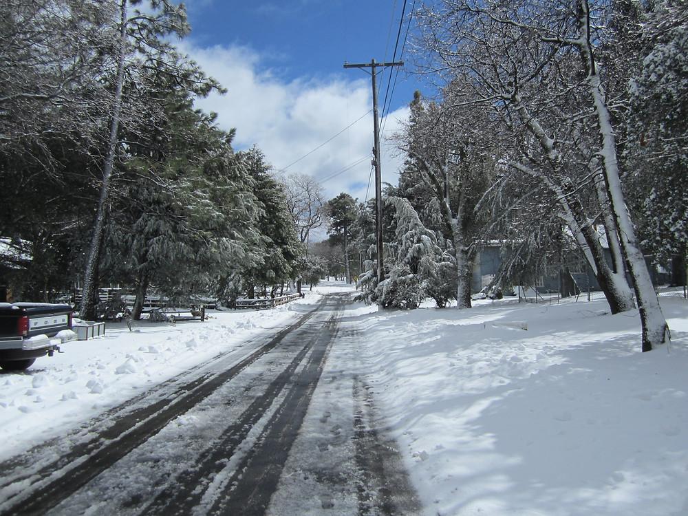 Julian, CA roads with snow