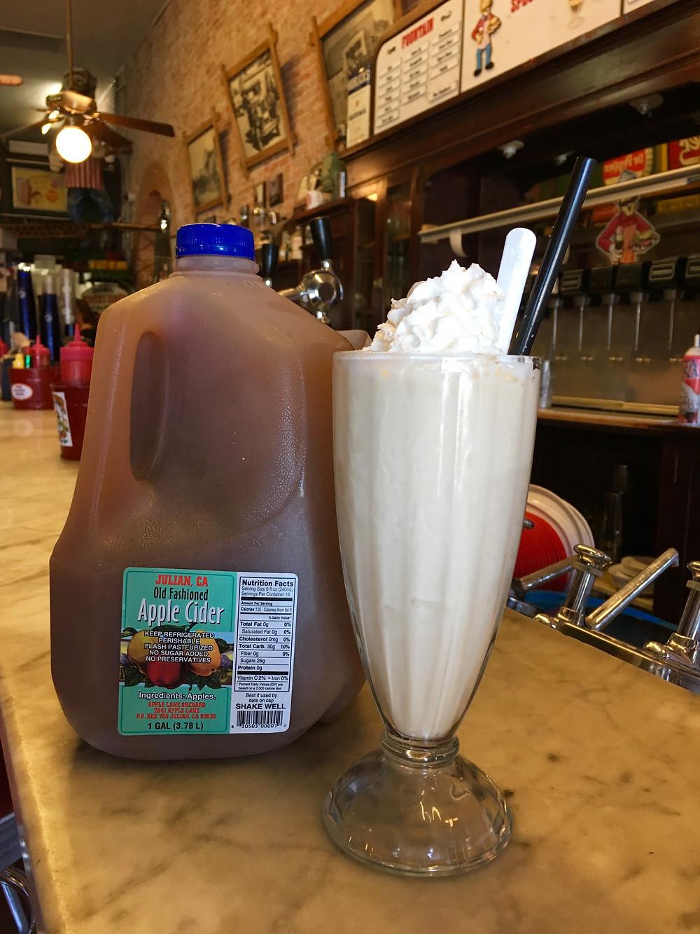 Apple Cider Milkshake from Miner's Diner in Julian, CA