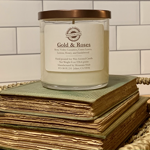 8 oz Gold & Roses Soy Candle