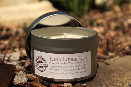 4oz Fresh Lemon Cake Soy Tin Candle