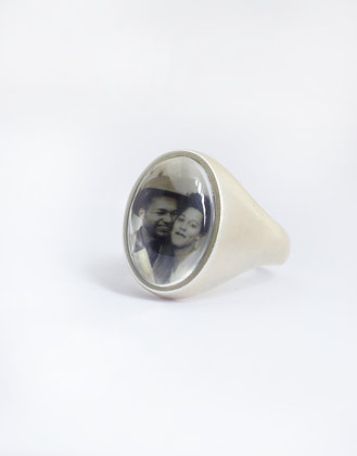 Photo Ring/Personalized/Sterling Silver Tapered Comfort Band