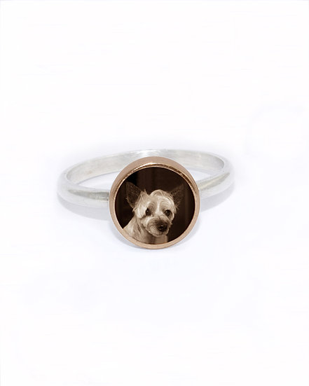 Photo Ring/Personalized/8mm Bronze & Silver  Circle Photo Ring with Resin
