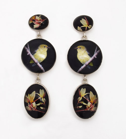 Birds and Begonias Photo Dangle Post Earrings