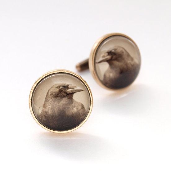 Bronze Crow Photo Cufflinks  (in stock)