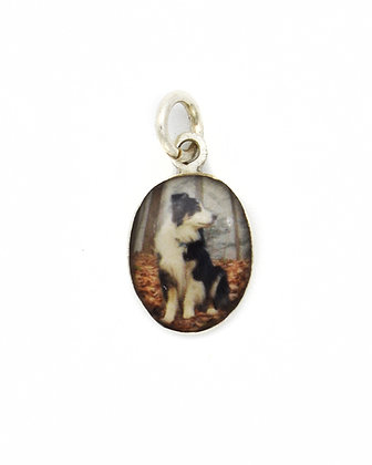 Photo Charm/10x12mm Sterling Silver Oval with Resin