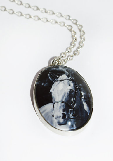 Photo Charm/Pendant/Personalized/Sterling Silver Oval with Glass