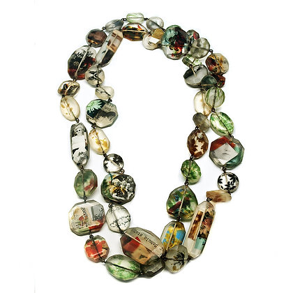 Long Photo Resin Bead Necklace