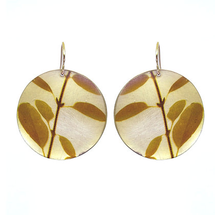E304 Yellow Leaves Disc Earrings