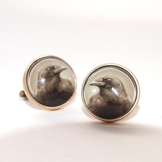 Crow Cufflinks/Bronze orSilver (made to order)