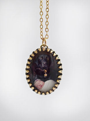 Brass Crown Edge Photo Pendant/Charm/Necklace/25x18mm