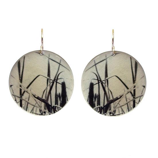 E308 Black & White Grasses  Disc Earrings