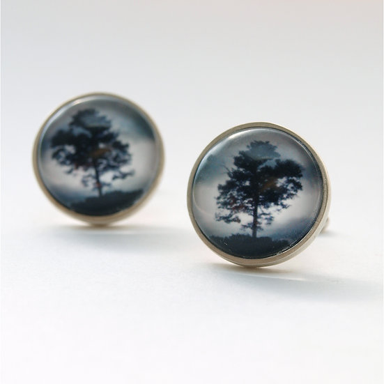 Stormy Tree Cufflinks/Bronze or Silver (made to order)