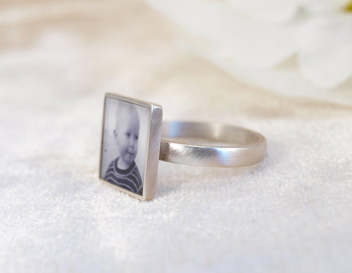 PERSONALIZED Square Photo Ring/12mm