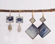 Eye& Mouth & Vintage Photo Earrings