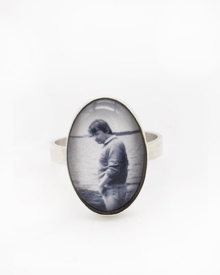Photo Ring/Personalized/Sterling Silver/13x18mm Oval with Glass