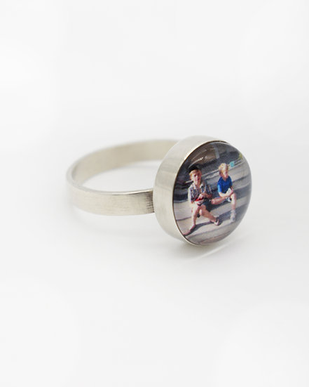 Photo Ring/Personalized/Sterling Silver/12mm Circle with Glass