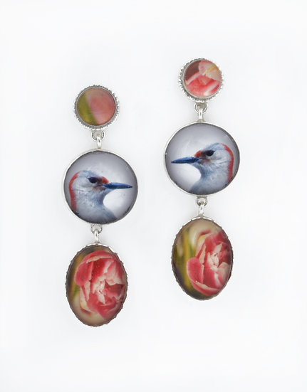 Woodpecker and Peony Post Dangle Earrings in Sterling Silver