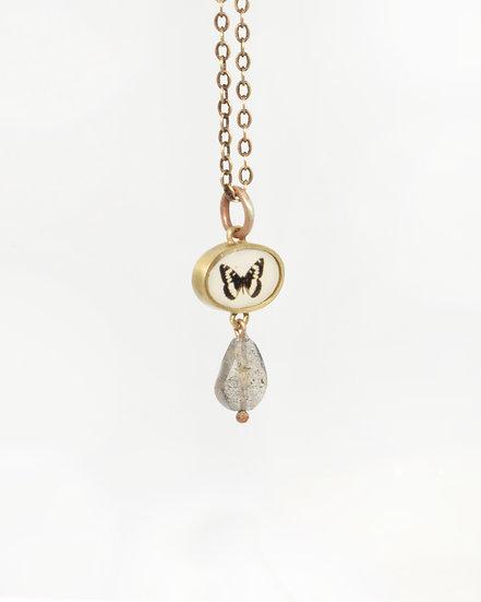 Butterfly Photo Pendant in Bronze & Labradorite (in stock)