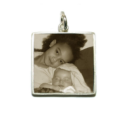 Square Photo Charm/Silver/16mm/Personalized