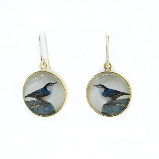 Nuthatch Photo Earrings  (made to order)