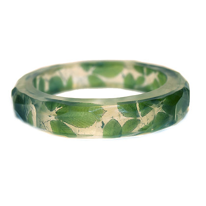 Green Leaves Resin Bangle(Order) 2 Sizes