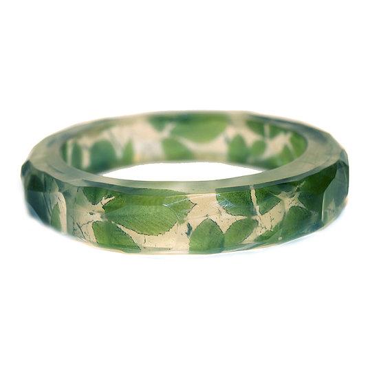 Green Leaves Resin Bangle(Order) 2 Sizes