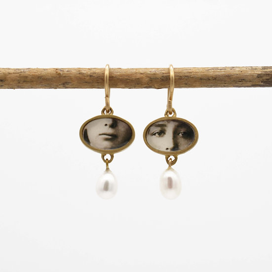 Little Eyes  & Mouth Photo Earrings /bronze with pearls (in stock)