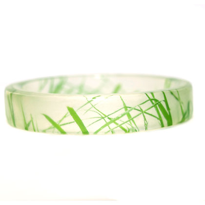 Green Grass Resin Bangle(ORDER) 2 Sizes