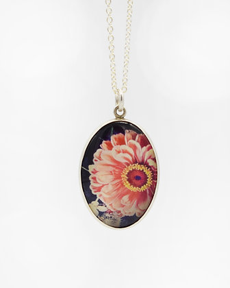 Pink Zinnia Photo Pendant Necklace( IN STOCK)