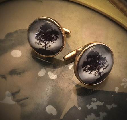 TREE PhotoCufflinks/IN STOCK/Sepia Photo/Bronze