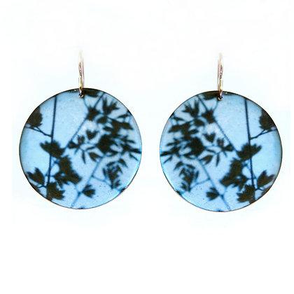 BLUE GRASSES Photo Disc Earrings