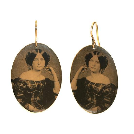 Victorian Lady Portrait Oval Disc Earrings