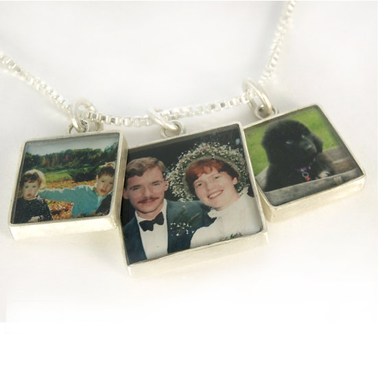 Three Squares Silver Photo Necklace