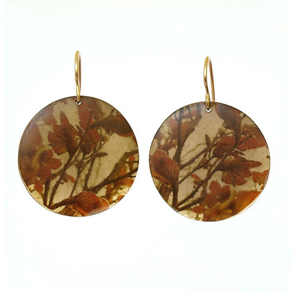 E307 Red Leaf Branch  Disc Earrings