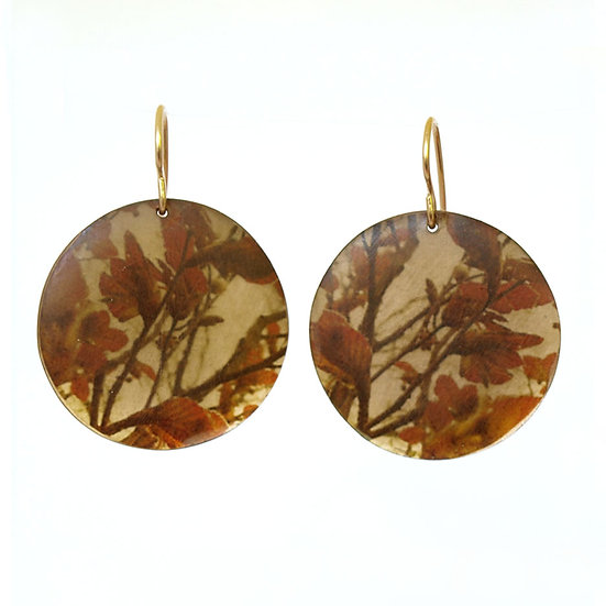 Red Leaf Branch  Disc Earrings (made to order)